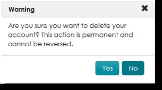 warning alert, select yes or no