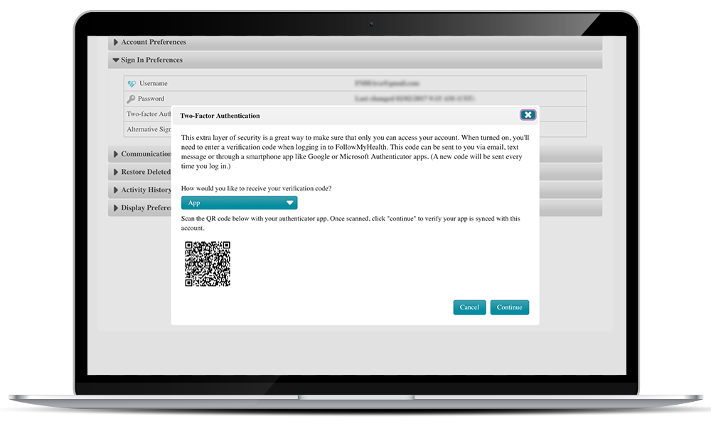 Two-Factor Authentication set up with app