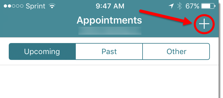 new appointment icon at the top of the screen
