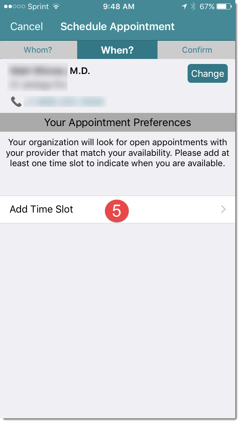 time of appointment