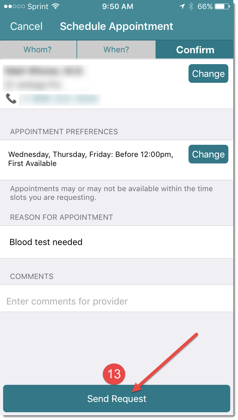 confirm appointment and send request
