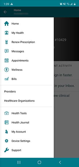 """menu bar, tap """"device settings"""""""
