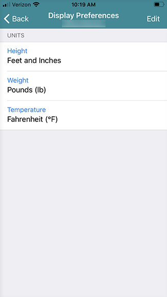 tap display preferences, then change the measurements