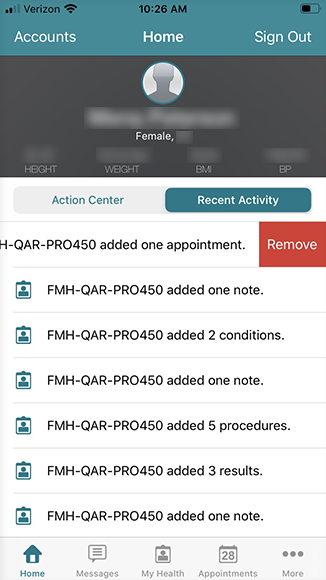 slide to remove activity want to delete