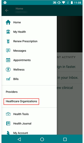 select healthcare organizations on the right