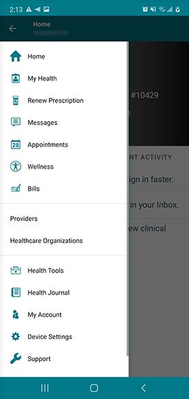 """menu screen, select """"my health"""""""