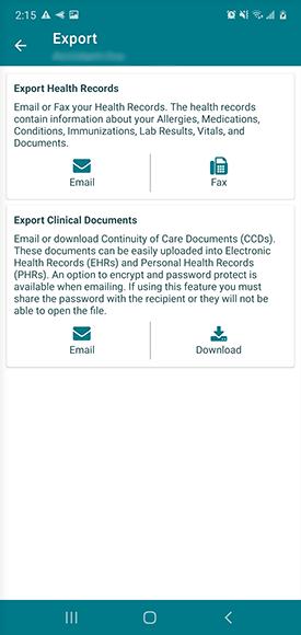 export menu, email documents