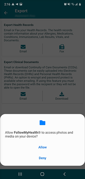 allow or deny FMH access to your device