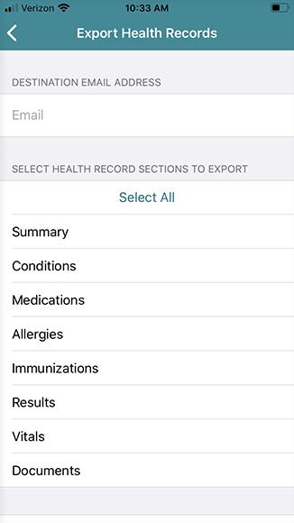 email health records menu
