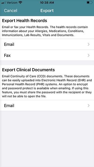 export health records menu