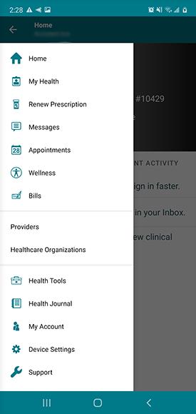 "menu screen, select ""messages"""