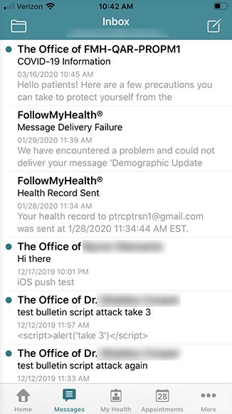 inbox screen