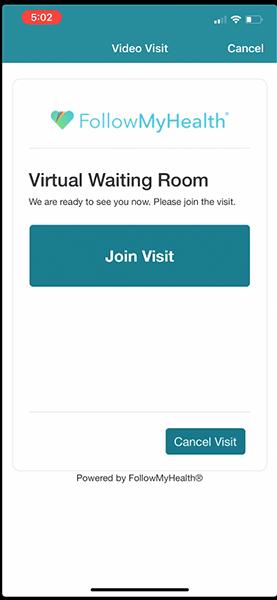 "virtual waiting room, ""join visit"""