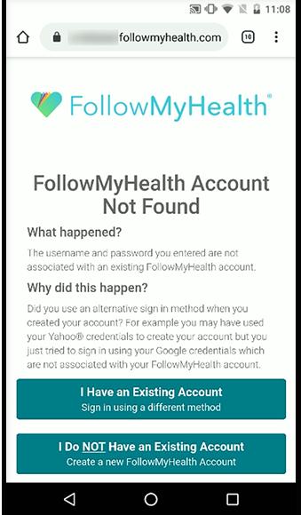FollowMyHealth Account Not Found
