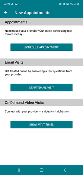"""select type of appointment, """"schedule appointment"""" at the top"""