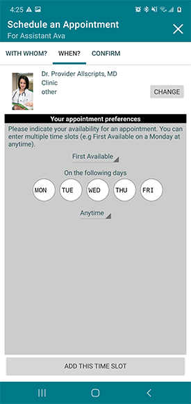 select date of appointment